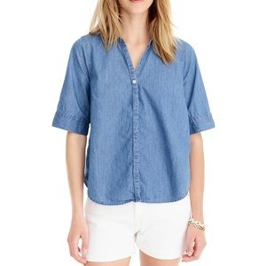 J. Crew Chambray Short Sleeve Button Down Top